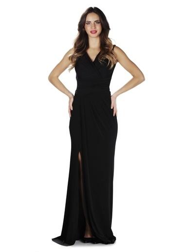 Carmen Sandy Yırtmaçlı Uzun Abiye Elbise Siyah